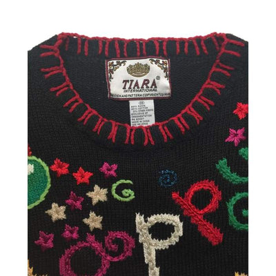 Christmas Happy New Year 2000 Tiara International Vintage Sweater Size M - Christmas