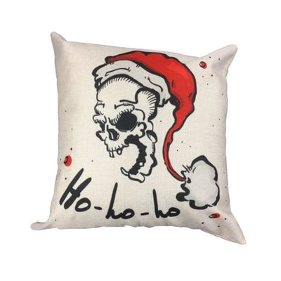 Christmas Ho Ho Ho Skull Santa Pillow - Christmas