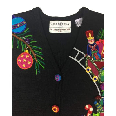 Christmas Jingle Train Marisa Christina Vintage Sweater Vest Size L - Christmas