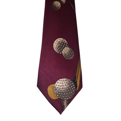 Christmas Maroon Golf Tie - Christmas