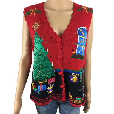 Christmas Presents Under A Tree Nut Cracker Vintage Sweater Vest Size M - Christmas