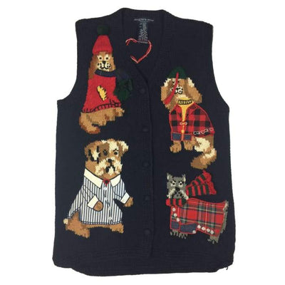 Christmas Puppy Love Eagles Eye Vintage Sweater Vest Size M - Christmas