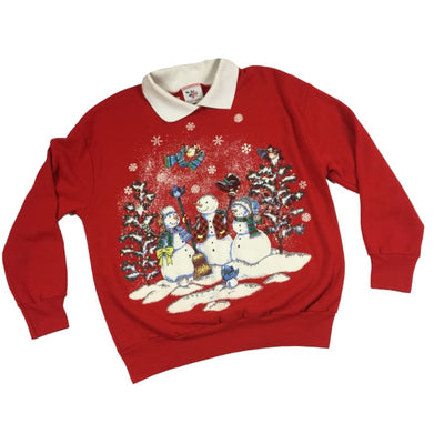 Christmas Red Snowmen Nut Cracker Vintage Sweater Size Unknown - Christmas