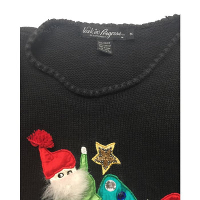 Christmas Santa Elves Work In Progress Vintage Sweater Size M - Christmas