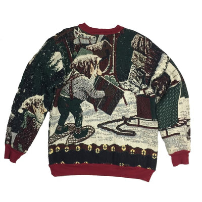 Christmas Santa Sugar Street Weavers Vintage Sweater Size One Size Fits All - Christmas