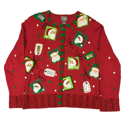 Christmas Santa Tags Berek Vintage Sweater Size L - Christmas