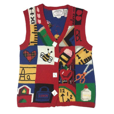 Christmas School Days Eagles Eye Vintage Sweater Vest Size S/P - Christmas
