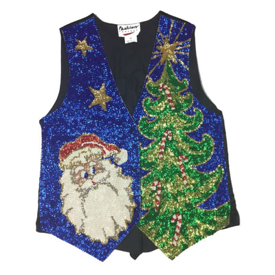 Christmas Sequins Santa Fashion Fantasy Vest Size M - Christmas