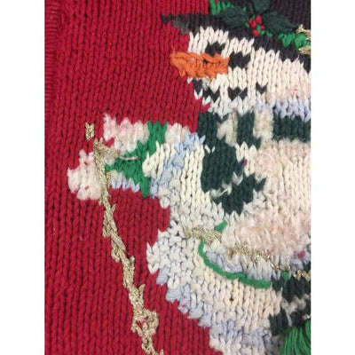 Christmas Skiing Snowmen Vintage Sweater Size L - Christmas