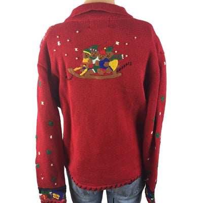 Christmas Sledding Bears Designer Originals Studio Vintage Sweater Size M - Christmas
