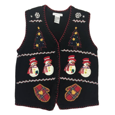Christmas Snowmen And Mittens Victoria Jones Vintage Sweater Vest Size L - Christmas