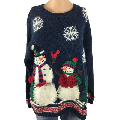 Christmas Snowmen Croft & Barrow Vintage Sweater Size M - Christmas