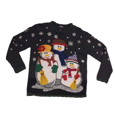 Christmas Snowmen Family Vintage Sweater Size L - Christmas
