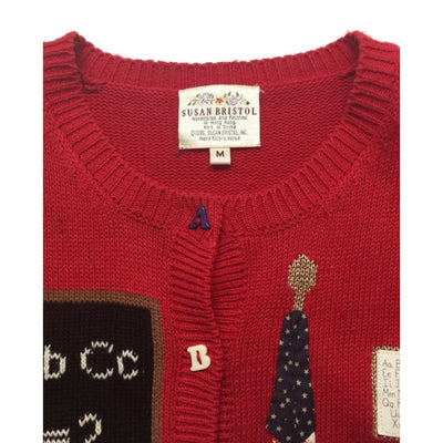 Christmas Teacher Schoolhouse Susan Bristol Vintage Sweater Size M - Christmas