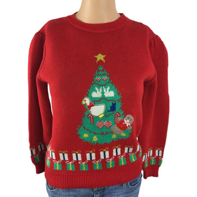 Christmas Tree And Presents Touchy Subject Vintage Sweater Size M - Christmas