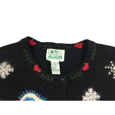 Christmas Winter Happy Snowmen Vintage Sweater Size M - Christmas