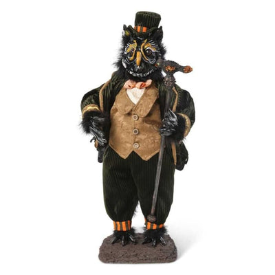 Halloween 23 Inch Owl Man with Cane and Top Hat - Halloween