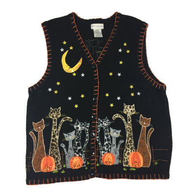 Halloween Cats White Stag Vintage Sweater Vest Size XL (16/18) - Halloween
