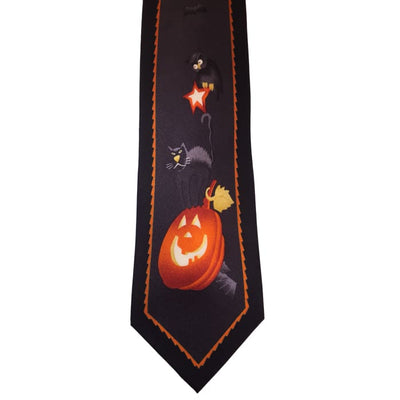 Halloween Jack-O-Lantern And Bats Silk Tie - Halloween