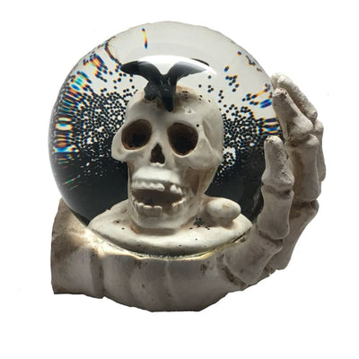 Halloween Skull With Black Crow Water Globe - Halloween