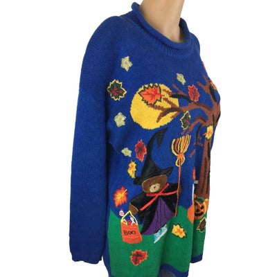 Halloween Witch And Broomstick Gladys Bagley Vintage Sweater Size M - Halloween