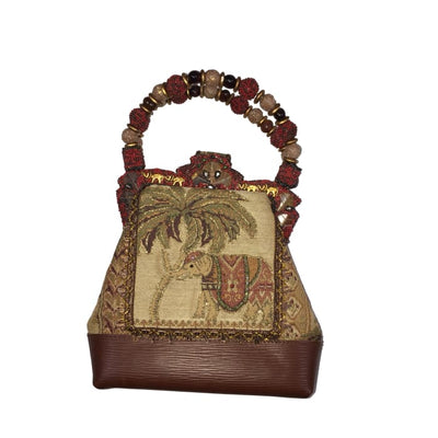 Mary Frances Elephant Tapestry & Beaded Handle Bag - Accessory