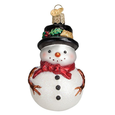 Ornament Holly Hat Snowman With Red And Green Scarf Set 3 1/2 - Christmas