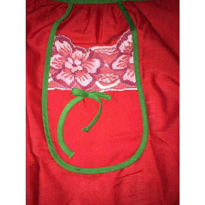 Red Green White Floral Vintage Apron - Christmas