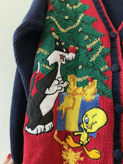 Christmas Vintage 90s Looney Tunes Cardigan Eagle's Eye Vintage Hand Knit Sweater Adult Size M