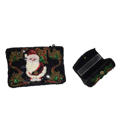 Sequined Beaded Clutch Purse With Lipstick Case - Christmas