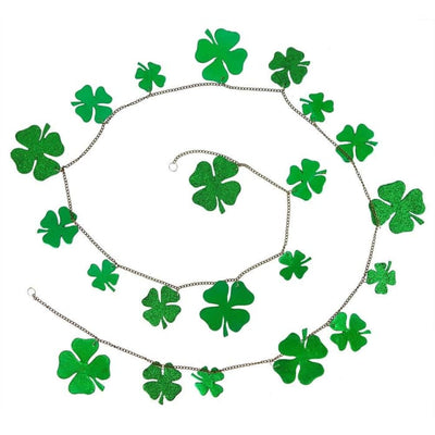 St. Patricks Day 5 Foot Chained Garland Banner Decoration Shamrocks 1.5 to 2.5 Tall - St. Patricks Day