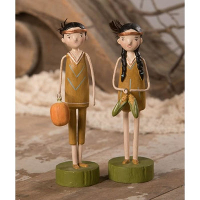 Thanksgiving Harvest Native American Couple Figurine Set - Thanksgiving