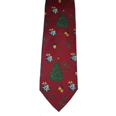 Trees And Bells Silk Italian Tie - Christmas