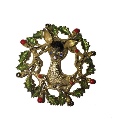 Wreath And Reindeer Signed Gerrys Brooch - Christmas
