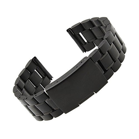 Moto 360 2 Watch Band (2nd Gen, Men's 42mm 2015), Threeeggs Stainless Steel Watch Strap Adjustbable Bracelet Band for Motorola Moto 360 2 Men's 42mm Smart Watch (B - Black)
