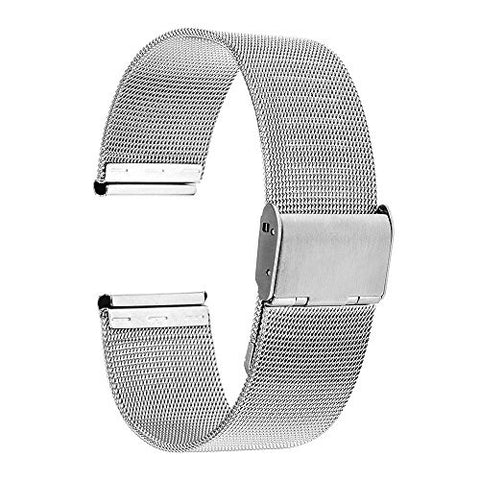 TRUMiRR 16mm Watchband Mesh Stainless Steel Metal Watch Band Strap Bracelet for Motorola Moto 360 2 (2nd Gen 42mm Women's 2017),Huawei Talkband B3 with Tool and Spring Bar, Silver