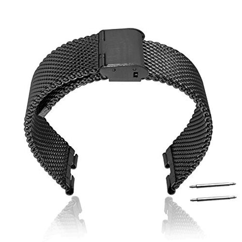 XIEMIN 22MM Stainless Steel Strap Replacement Watchband for Motorola Moto 360 1st gen Smart Watch with Free Screen Protector and Spring Bar Jeweler Tool(Black)