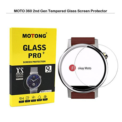 MOTONG 46mm Tempered Glass Screen Protectors For Motorola MOTO 360 2nd Gen, 9 H Hardness, 0.3mm Thickness,Made From Real Glass (46mm)