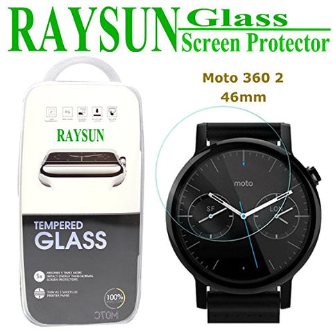 RAYSUN Motorola Moto 360 46mm Tempered Glass Screen Protector (Moto 360 2nd Gen 2015 46mm) 0.3mm Real Tempered Glass 9H Hardness Shatterproof High Definition Giftbox Packge