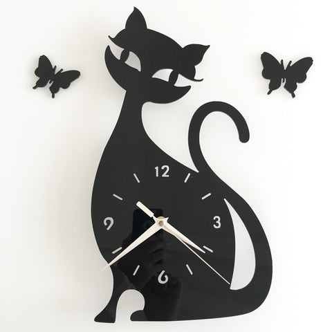 #s black cat Wall clock Mirror originality personality wag-on-the-wall black and white