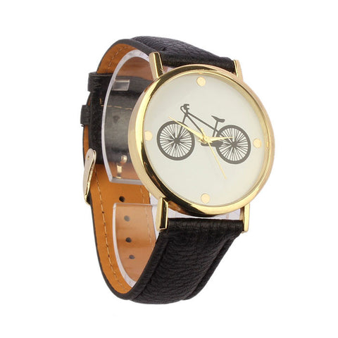 Unisex Watches for Women & Men Bicycle Pattern Dial Leather Band Quartz Analog Wrist Watch