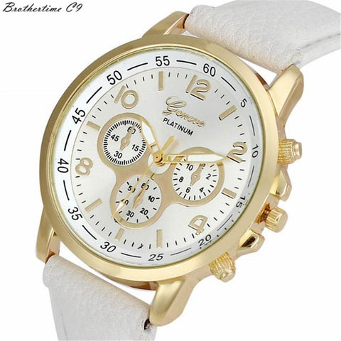 Casual Geneva Leather Quartz Analog Wrist Watch