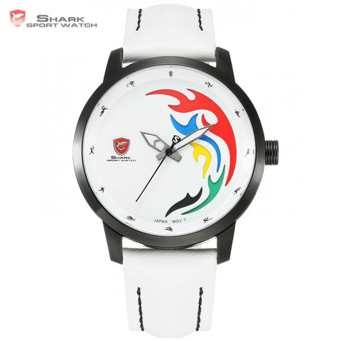 Unisex Sport Watch Men 2016 Games Limited White Black Flame Genuine Leather