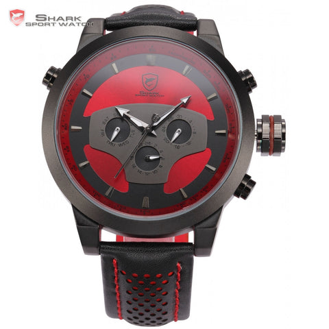 Sport Watch 6 Hands Leather Strap Calendar 24 Hours Black Red 3D Dial Cycling Analog Mens Quartz Timepiece