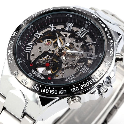 Branded Mens Classic Stainless Steel Self Wind Skeleton Mechanical Watch Fashion Cross Wristwatch