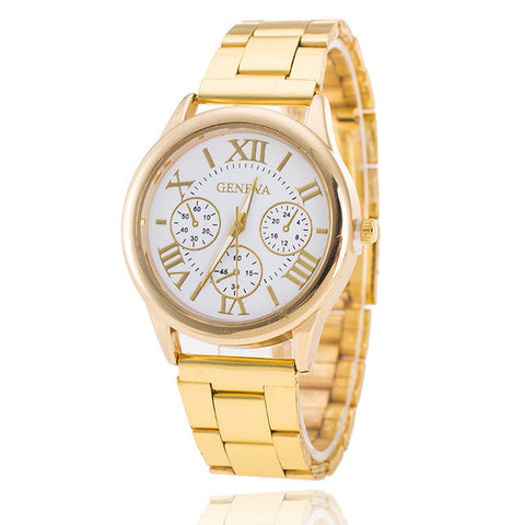 Analog Stainless Steel Geneva Watch Men Casual Quartz Gold Watches