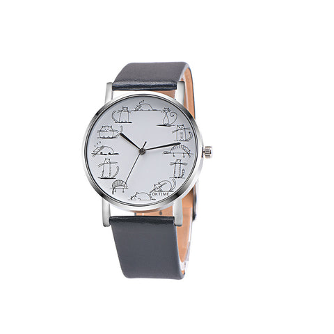 Cat Casual Faux Leather Band Analog Alloy Quartz Wrist Watch