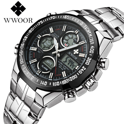 2017 Digital Watch Men Luxury Brand WWOOR Men's Watches Quartz LED Dual Display Military Watch Swimming Casual Sport Wristwatch