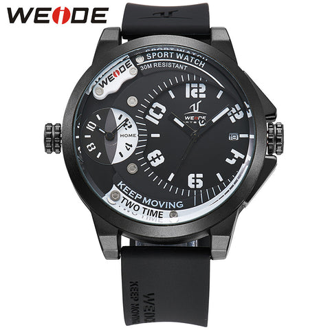 2016 WEIDE Mens Watches Top Brand Luxury Leather Strap Quartz Men Dual Time Zone Analog Date Men Sport Army Military Wristwatch