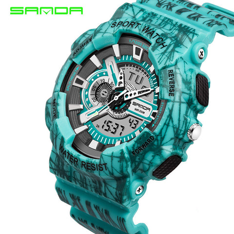 Digital Camo Watch Dual Time Sports Watches